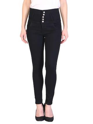 KA Fashion Black Denim Solid Upper Waist Jeans For Women