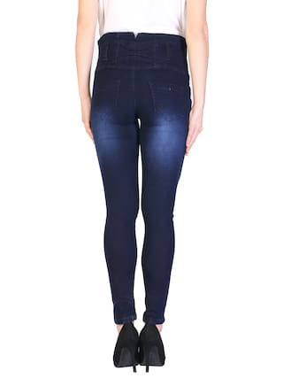 Denim Dark Black Blue Women For Upper Jeans Waist amp; KA Fashion Solid 5TanXX
