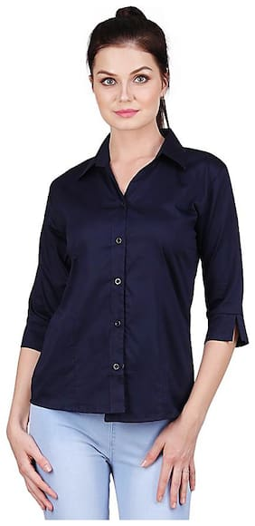 KA Fashion Women Regular fit Solid Shirt - Blue