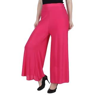 KA amp; Women Palazzo For Solid Fashion Rani Peach Lycra UUxSFqr