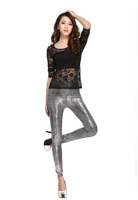 Kaamastra Leather Leggings - Silver