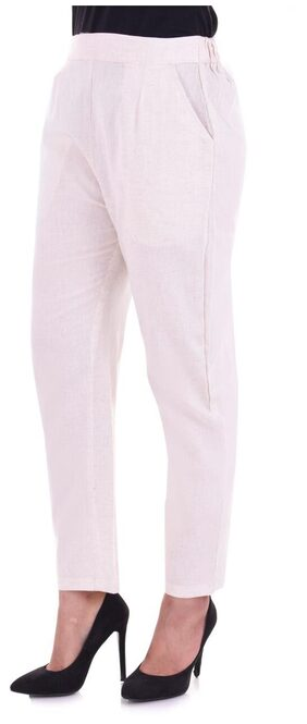 KAHILI ART Women Straight Fit Mid Rise Solid Pants - White