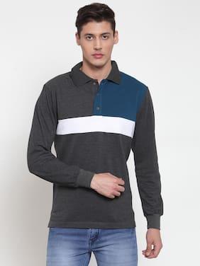 Men Polo Collar Colorblocked T-Shirt
