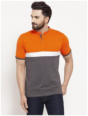 Men Henley Neck Colorblocked T-Shirt