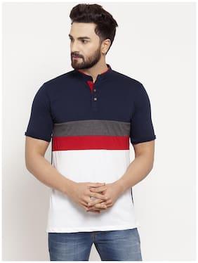 Men Mandarin Collar Colorblocked T-Shirt