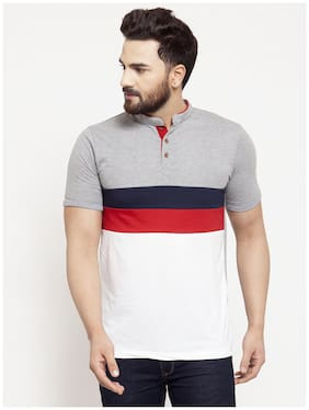 Men Mandarin Collar Colorblocked T-Shirt