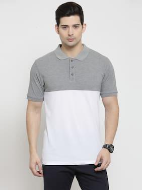 Kalt Men Regular fit Polo neck Colorblocked T-Shirt - White