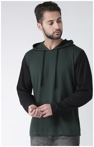 Kalt Men Cotton & Blended Hoodie - Green & Black