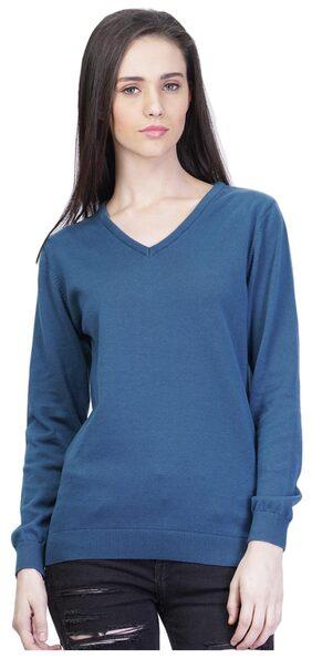 Kalt Solid V-Neck Casual Women'S Cotton Sweater