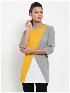 Women Colourblocked Round Neck Top