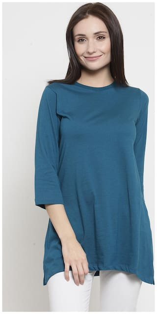 Kalt Women Solid Regular tunic - Blue