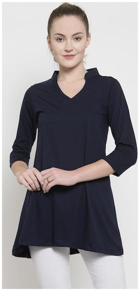 Women Solid Mandarin Collar Top