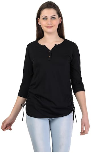 Kalt Women Solid Regular tunic - Black