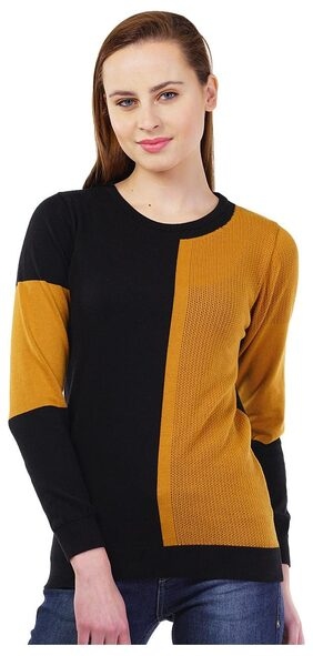 Kalt Women's Round Neck Full Sleeve Pointelle Intarsia Cotton Sweater