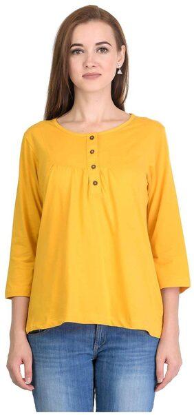 Kalt Women's 3/4th Sleeves Henley Neck Cotton Blend Top T-shirt