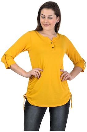 Women Solid Henley Neck Top