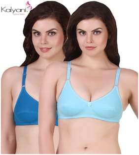 aba72a09cb22f Kalyani Cotton Non Padded Non Wired Medium Coverage Assorted Bra (Trisha) -  Pack of