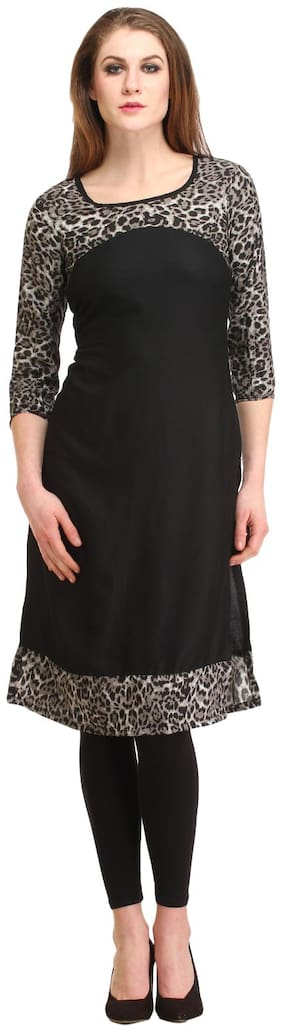 kanahshri black solid women's straight kurti