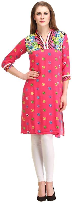 Kanah Shri Women Rayon Printed Straight Kurta - Pink