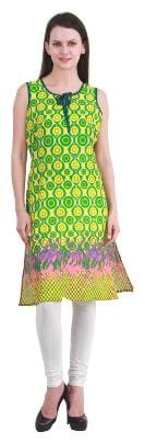 KANAHSHRI GREEN SLEEVELESS LONG COTTON KURTI