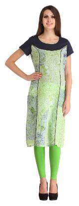 Kanah Shri Women Cotton Printed Straight Kurta - Green