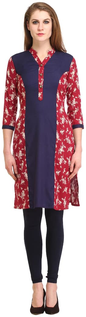 Kanah Shri Women Cotton Floral Straight Kurta - Maroon