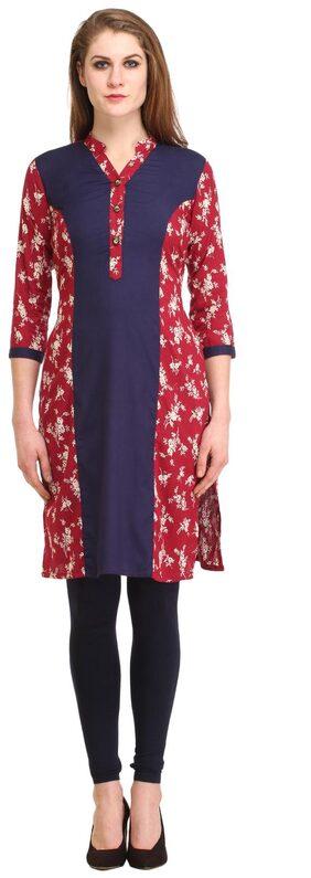 kanahshri maroon casual printed cotton kurti