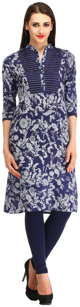 kanahshri navy color patch wark cotton kurti