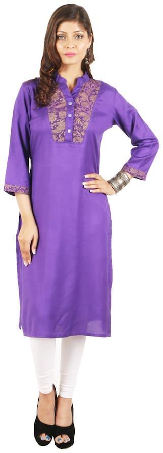 Kanah Shri Women Rayon Solid Straight Kurta - Purple