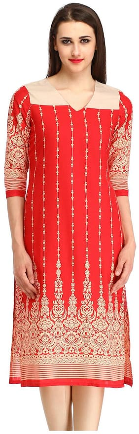 kanahshri Red Floral Printed women's long kurti