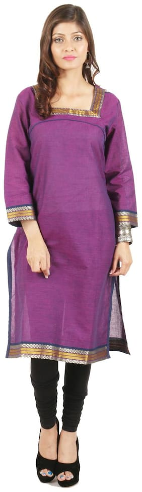 Kanah Shri Women Cotton Solid Straight Kurta - Purple