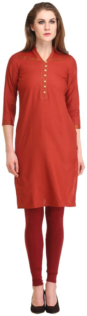 Kanah Shri Women Cotton Solid Straight Kurta - Maroon