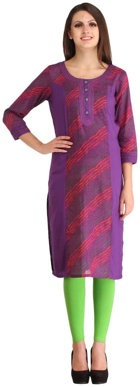 Kanah Shri Women Cotton Printed Straight Kurta - Purple