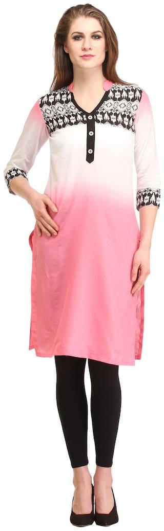 Kanah Shri Women Cotton Solid Straight Kurta - White