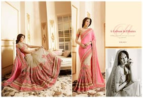Kanha Fashion Georgette Universal Embroidered work Saree - Pink , With blouse