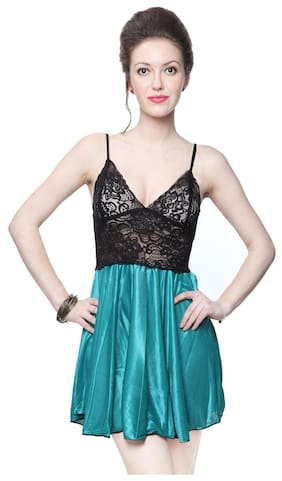 Kanika Satin Black   Ice Green Women Free Size Babydoll 114661f04