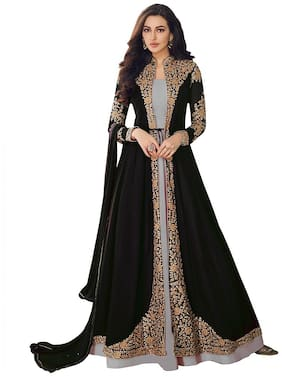 KAPANKU Georgette Embroidered Black Anarkali Kurta , Bottom With Dupatta
