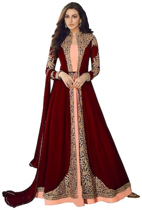 KAPANKU Georgette Embroidered Maroon Anarkali Kurta , Bottom With Dupatta