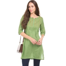 Karigari GREEN Women Regular Long Kurta