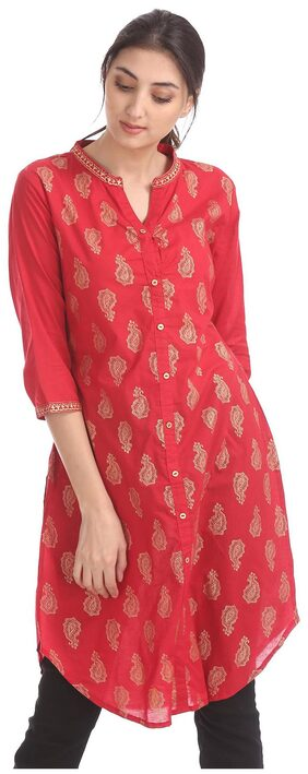 Karigari Women Cotton Printed Straight Kurta - Red
