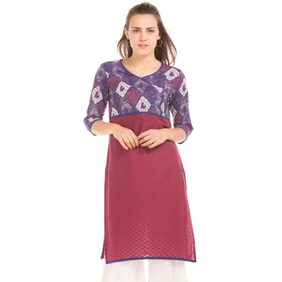 Karigari MAROON Women Regular Long Kurta