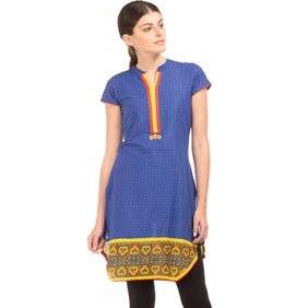 Karigari NAVY Women Regular Long Kurta