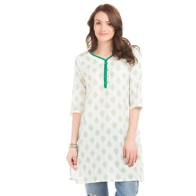 Karigari OFF-WHITE Women Regular Long Kurta