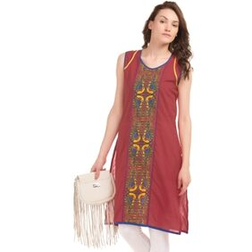 Karigari RED Women Regular Long Kurta