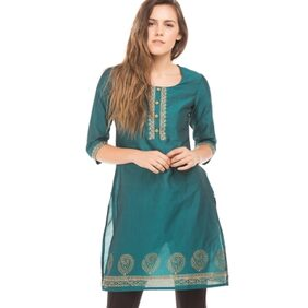 Karigari TEAL Women Regular Long Kurta