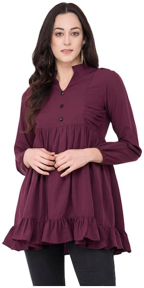 KARMIC VISION Women Solid Regular top - Purple