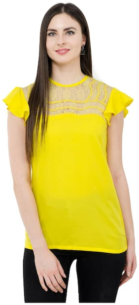 KARMIC VISION Women Solid Regular top - Yellow