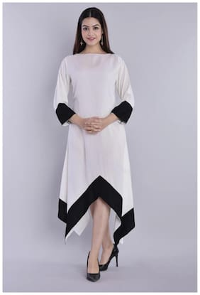 KASHISHIYA Women Cotton Solid White Asymmetric Dress