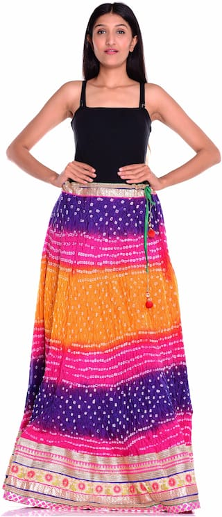 Kastiel Bandhani Art Silk Women's Skirt With Gota Patti Border Lace