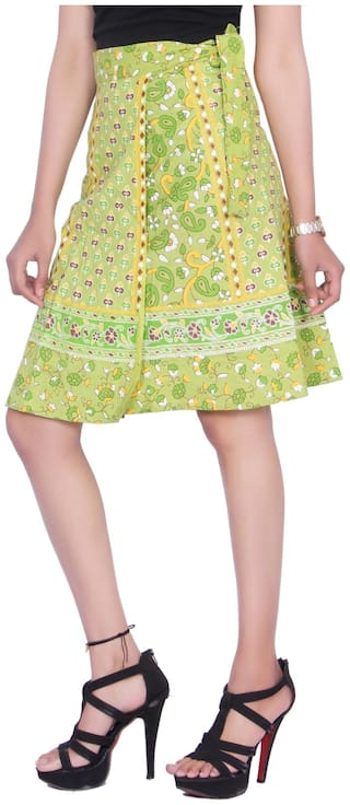KASTIEL Printed Wrap skirt Mini Skirt - Green